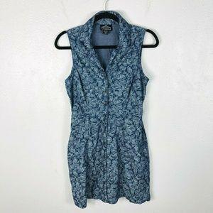 Angie Blue Chambray Rose Print Button Dress